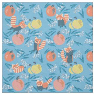 Cute 'Red Panda' Blue Apple Pattern Fabric