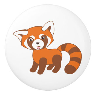 Cute Red Panda Ceramic Knob