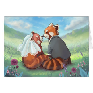 Cute Red Panda Couple In Love Card