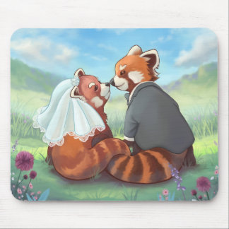 Cute Red Panda Couple In Love Mouse Pad