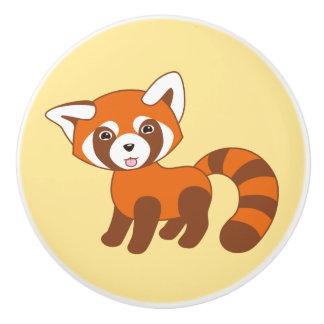 Cute Red Panda on Yellow Ceramic Knob