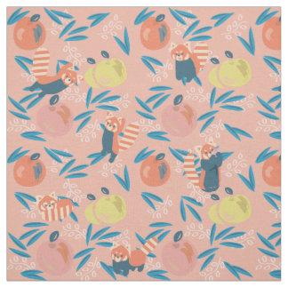 Cute 'Red Panda'  Pink Apple Pattern Fabric