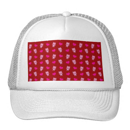 Cute red pig hearts pattern mesh hats