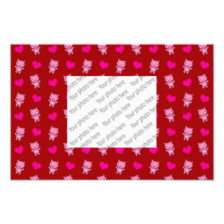Cute red pig hearts pattern art photo