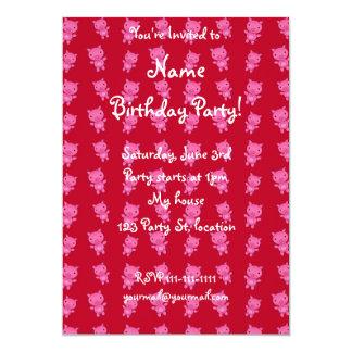 Cute red pig pattern 13 cm x 18 cm invitation card