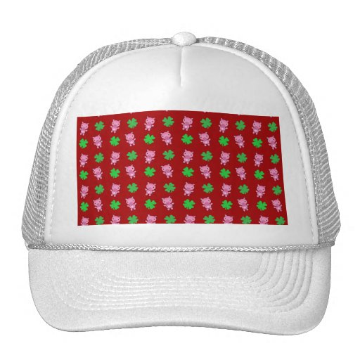 Cute red pig shamrocks pattern trucker hats