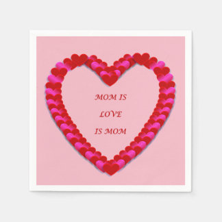 Cute Red & Pink Mother's day Paper Napkin