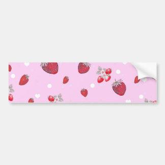 Cute Red Polka Dots Strawberries Fruit Pattern Bumper Sticker