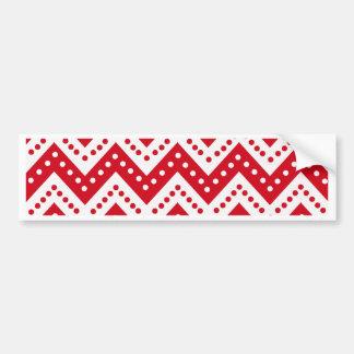 Cute Red Polkadot Zigzags Bumper Sticker