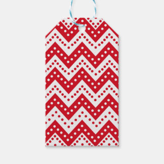 Cute Red Polkadot Zigzags Gift Tags