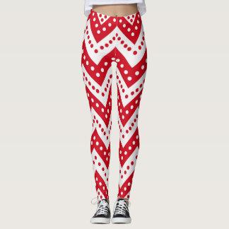 Cute Red Polkadot Zigzags Leggings