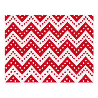Cute Red Polkadot Zigzags Postcard