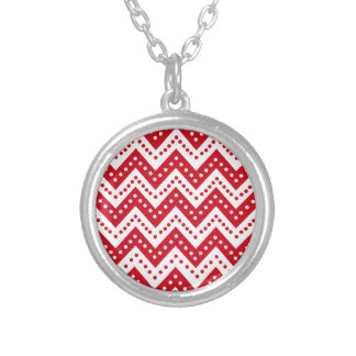Cute Red Polkadot Zigzags Silver Plated Necklace