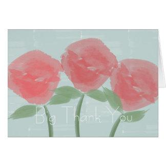 Cute Red Roses Big Thank You Custom Card