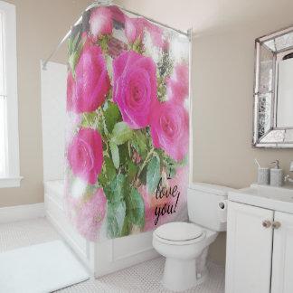 Cute Red Roses Bouquet Vintage Photo Print Design Shower Curtain