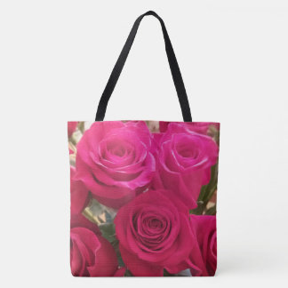 Cute Red Roses Print Tote Bag