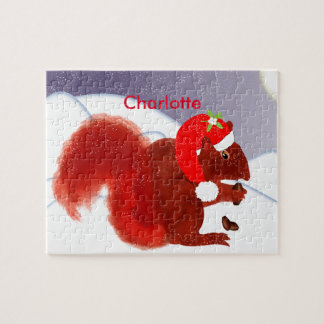 Cute Red Squirrel Christmas Holiday Personalized Puzzle