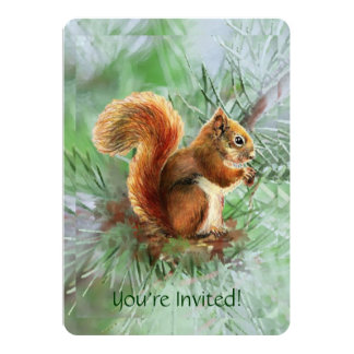 Cute Red Squirrel Custom Age Birthday Party Invite