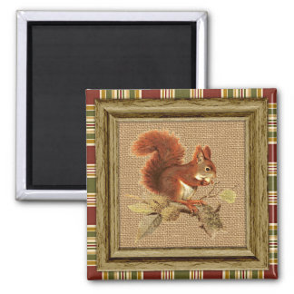 Cute Red Squirrel On Faux Jute Burlap Magnet