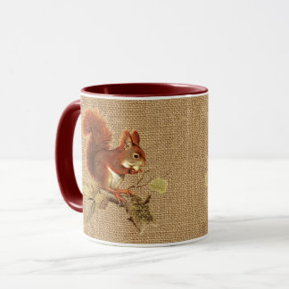 Cute Red Squirrel On Faux Jute Burlap Mug