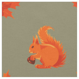 Cute Red Squirrel with Chestnut and Red Leaves Fabric