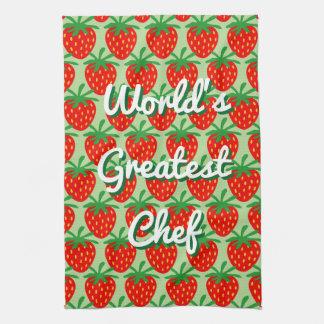 Cute red strawberry custom kitchen towel gift idea