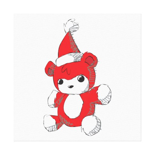 Cute Red Teddy Bear Santa Hat Invitation Stamps Gallery Wrap Canvas
