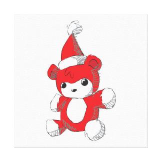 Cute Red Teddy Bear Santa Hat Invitation Stamps Canvas Print