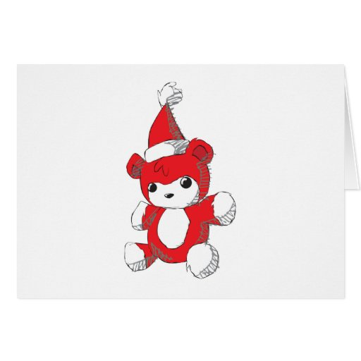 Cute Red Teddy Bear Santa Hat Invitation Stamps Cards