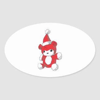 Cute Red Teddy Bear Santa Hat Invitation Stamps Oval Sticker