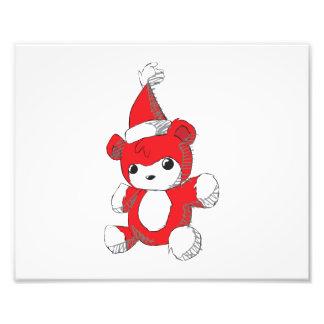 Cute Red Teddy Bear Santa Hat Invitation Stamps Photo Print