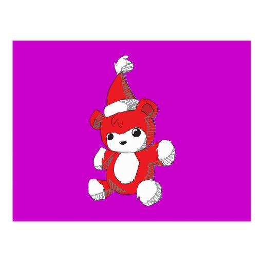 Cute Red Teddy Bear Santa Hat Invitation Stamps Post Card