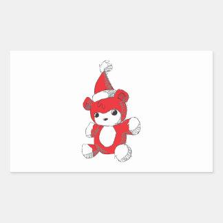 Cute Red Teddy Bear Santa Hat Invitation Stamps Rectangular Sticker