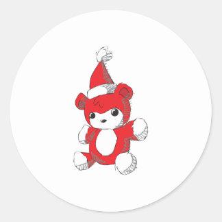 Cute Red Teddy Bear Santa Hat Invitation Stamps Round Sticker