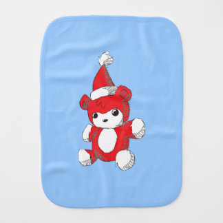 Cute Red Teddy Bear Santa Hat Invitation Stamps Burp Cloths