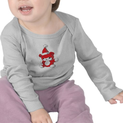 Cute Red Teddy Bear Santa Hat Kids Baby Shirts Bib