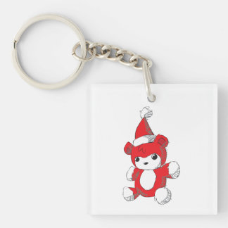 Cute Red Teddy Bear Santa Hat Mugs Buttons Pins Double-Sided Square Acrylic Key Ring