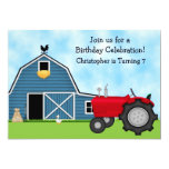 Cute Red Tractor and Blue Barn Boys Birthday Party 13 Cm X 18 Cm Invitation Card