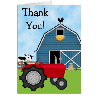 Cute Red Tractor and Blue Barn Thank You Card
