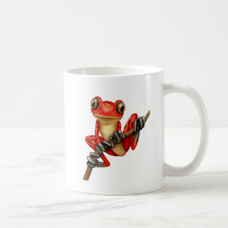 Cute Red Tree Frog on a Branch Coffee Mug