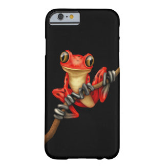 Cute Red Tree Frog with Eye Glasses on Black Barely There iPhone 6 Case