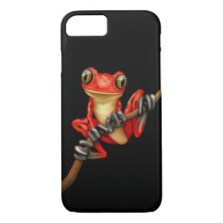 Cute Red Tree Frog with Eye Glasses on Black iPhone 7 Case