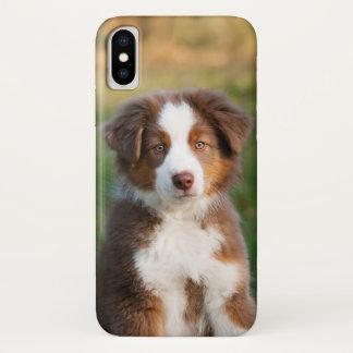 Cute Red Tri Australian Shepherd Dog Puppy Photo . iPhone X Case