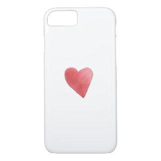Cute Red Watercolor Heart Romantic Minimalist iPhone 8/7 Case