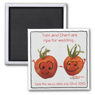 Cute Red Wedding Tomatoes Save the Date  Magnets