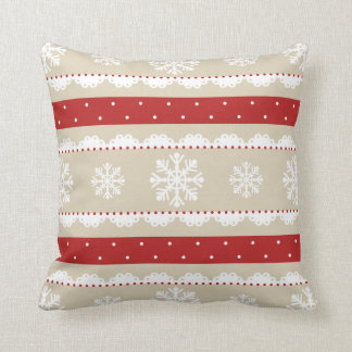 Cute Red White Beige Christmas Snowflakes Pattern Cushion