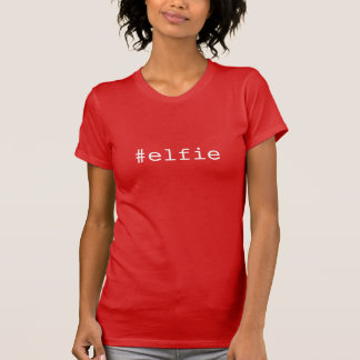 Cute Red & White Hashtag Christmas Trendy Elfie T-Shirt