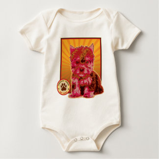 Cute Red Yorkie Puppy Dog - Yorkshire Terrier Baby Bodysuit