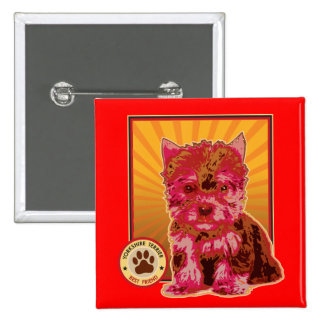 Cute Red Yorkie Puppy Dog - Yorkshire Terrier Pinback Buttons