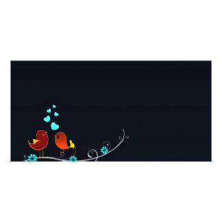 Cute reddish love birds and aqua hearts photo card